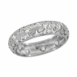 Art Deco Diamond Antique Flanders Wedding Ring in Platinum - Size 5 3/4