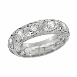 Art Deco Eastford Diamonds and Hearts Antique Wedding Band in Platinum - Size 5 3/4