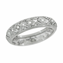 Art Deco Diamond Antique Wedding Band in Platinum - Size 5 3/4