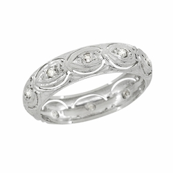 Art Deco Diamonds Antique Wedding Ring in Platinum - Size 6