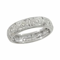 Art Deco Diamond Antique Wedding Ring in Platinum - Size 6