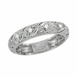 Art Deco Vintage Mansfield Scrolls Diamond Wedding Band in Platinum - Size 6