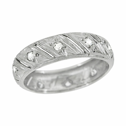 Art Deco Warran Antique Filigree Diamond Wedding Band in Platinum - Size 6 1/4