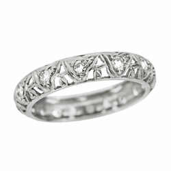 Art Deco Devon Antique Filigree Diamond Wedding RIng in Platinum - Size 6 1/4
