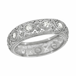 Art Deco Wide Diamond Antique Wedding Band in Platinum - Size 6 1/4