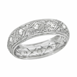 Art Deco Engraved Filigree Antique Diamond Eternity Wedding Band in Platinum - Size 6 1/4