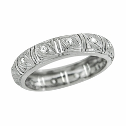 Art Deco Diamond Antique Wedding Band in Platinum - Size 6 1/4