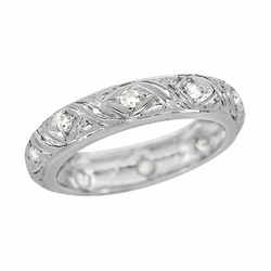 Art Deco Eastford Antique Scrolls Diamond Wedding Ring in Platinum - Size 6 1/2