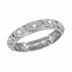 Art Deco Antique Scrolls Platinum Diamond Wedding Ring - Size 6 3/4