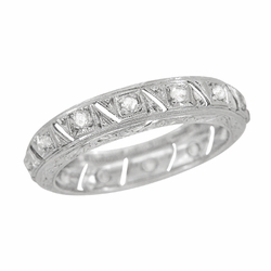 Art Deco Diamond Antique Wedding Band in Platinum - Size 7