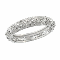 Art Deco Diamond Set Antique Wedding Band in Platinum - Size 7 3/4