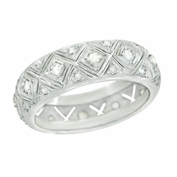 Art Deco Diamond Set Antique Wedding Band in Platinum - Size 9