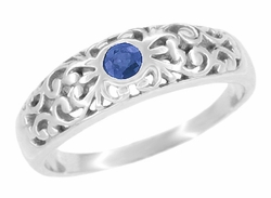 Art Deco Filigree Blue Sapphire Ring Bezel Set in 14 Karat White Gold
