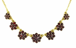 Victorian Bohemian Garnet Floral Necklace in Sterling Silver Vermeil