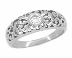 Edwardian Filigree Diamond Ring in 14 Karat White Gold | Dual Purpose Wedding and Engagement Ring