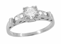 Art Deco Scrolls Vintage Diamond Engagement Ring in Platinum