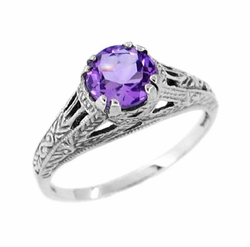 Art Deco Amethyst Filigree Engraved Ring in Sterling Silver