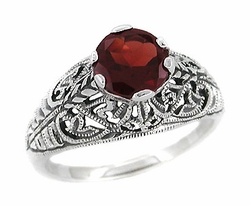 Edwardian Filigree Almandine Garnet Ring in Sterling Silver