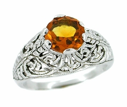 Edwardian Filigree Citrine Ring in Sterling Silver