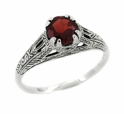 Art Deco Almandine Garnet Filigree Engraved Ring in Sterling Silver