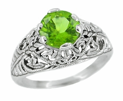 Edwardian Filigree Peridot Ring in Sterling Silver
