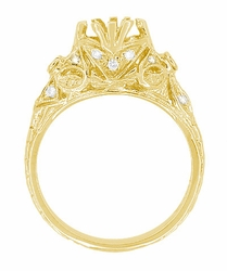 Antique Style 3/4 Carat Filigree Edwardian Engagement Ring Mounting in 18 Karat Yellow Gold