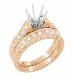 Art Deco Engraved Scrolls 1 Carat Diamond Engagement Ring Setting and Wedding Ring in 14 Karat Rose ( Pink ) Gold