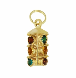 Stoplight Vintage Pendant Charm in 14 Karat Yellow Gold