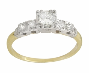 Mid Century Diamond Vintage Engagement Ring in 14 Karat White and Yellow Gold - Click to enlarge