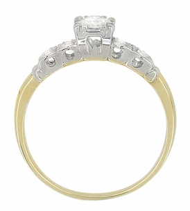 Mid Century Diamond Vintage Engagement Ring in 14 Karat White and Yellow Gold - Item R775 - Image 2