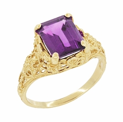 Edwardian Filigree Emerald Cut Amethyst Engagement Ring in 14 Karat Gold