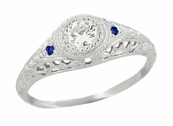 Art Deco Engraved Filigree Diamond and Sapphire Engagement Ring in 14 Karat White Gold