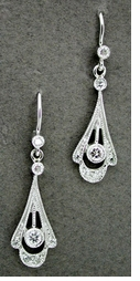 Art Deco Platinum and Diamond Drop Earrings