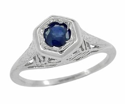 Art Deco Blue Sapphire Filigree Ring in 14 Karat White Gold