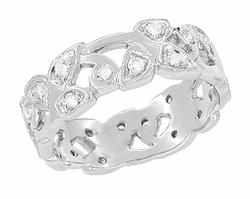 Retro Moderne Leaves Filigree Diamond Wedding Band with Diamonds in Platinum
