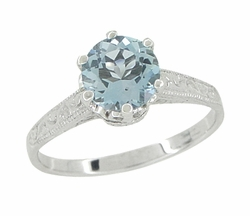 Art Deco 1 Carat Crown Aquamarine Engagement Ring in Platinum