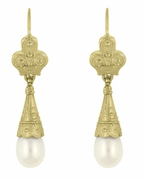 Victorian Pearl Drop Earrings in 14 Karat Gold