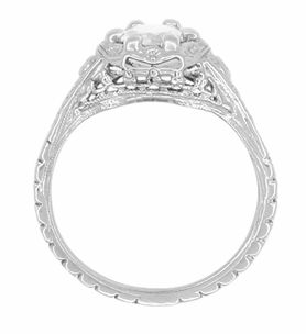 Art Deco Filigree Flowers Antique Design Diamond Engagement Ring in 14 Karat White Gold - Item R706WD - Image 2