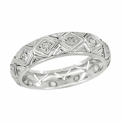 Art Deco Brookfield Antique Diamond Wedding Ring in Platinum - Size 6 1/2