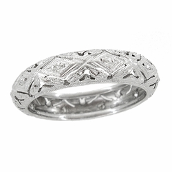 Art Deco Original Millstone Vintage Diamond Filigree Wedding Band in 18K White Gold - Size 6 1/4