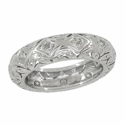 Art Deco Diamonds Filigree Antique Wedding Band in Platinum - Size 4 1/2
