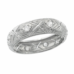 Diamond Kisses Brooksvale Art Deco Antique Wide Wedding Band in Platinum - Size 5 1/2