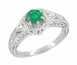 Art Deco Emerald and Diamond Filigree Engraved Engagement Ring in Platinum
