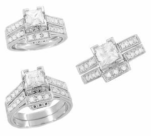 Art Deco 1/2 Carat Princess Cut Diamond Castle Engagement Ring in 18 Karat White Gold - Click to enlarge