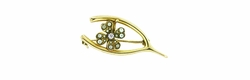Retro Moderne Lucky Four Leaf Clover and Wishbone Brooch Set with Diamond and Seed Pearls in 10 Karat Gold