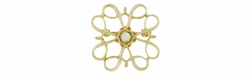 Vintage Diamond Set Petite Scroll Brooch in 10 Karat Gold