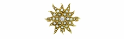 Antique Victorian Diamond and Seed Pearl Starburst Pendant Brooch in 14 Karat Gold