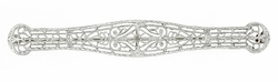 Edwardian Filigree Bar Estate Brooch in 14 Karat White Gold