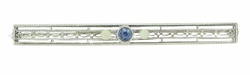 Art Deco Filigree Sapphire and Pearl Antique Brooch in 14 Karat White Gold