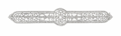 Antique Edwardian Diamond Set Filigree Brooch in 10 Karat White Gold